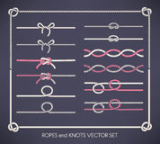 Ropes and knots set Royalty Free Stock Photos