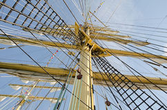 Ropes on the mast of a sailboat Royalty Free Stock Photos