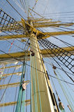 Ropes on the mast of a sailboat Stock Photography