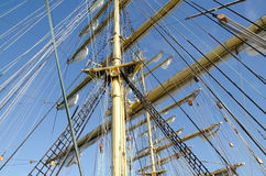 Ropes on the mast of a sailboat Stock Image