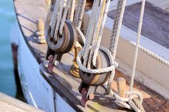 Ropes of old sailing boat royalty free stock photo
