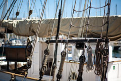 Ropes on old ship. In barcelona harbor in summer Royalty Free Stock Photos