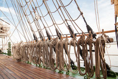Ropes on an old vessel Royalty Free Stock Image