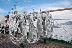 Ropes on an old vessel Royalty Free Stock Photography
