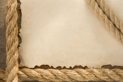 Ropes on old vintage ancient paper backgroun Royalty Free Stock Image