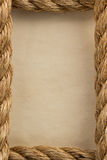 Ropes and old vintage ancient paper. Background royalty free stock photos