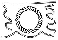 Ropes pattern brushes. Seamless nautical rope and chain stripes isolated on background royalty free illustration
