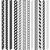 Ropes pattern brushes. Seamless nautical rope and chain stripes isolated on background vector illustration