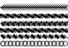 Ropes pattern brushes. Seamless nautical rope and chain stripes isolated on background. stock illustration