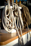 Ropes Piled on Boat Deck royalty free stock photo