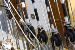 Ropes and pulley Royalty Free Stock Images