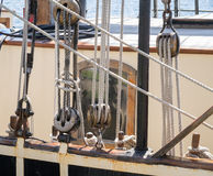 Ropes and Pulleys. A closeup of some ropes and pulleys on a vintage ship Royalty Free Stock Photo