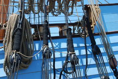 Ropes, pullies and ties Stock Image