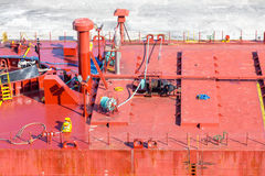 Ropes on Red Industrial Ship Royalty Free Stock Image
