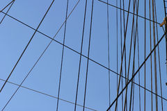 Ropes and Rigging on a Boat Mast Royalty Free Stock Image