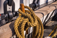 Ropes rigging masts and stays on traditional sailing ship Stock Images