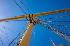 Ropes rigging masts and stays on traditional sailing ship Stock Photo