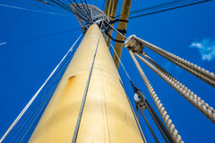 Ropes rigging masts and stays on traditional sailing ship Stock Photos
