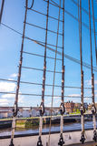 Ropes rigging masts and stays on traditional sailing ship Royalty Free Stock Photo