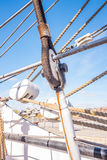 Ropes rigging masts and stays on traditional sailing ship Royalty Free Stock Image