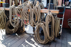 Ropes and rigging on old vessel Royalty Free Stock Photo