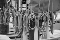 Rigging and ropes for a tall ship schooner royalty free stock photos