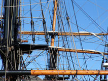 Ropes and rigging on tallship. Showing masts and yardarms royalty free stock photo