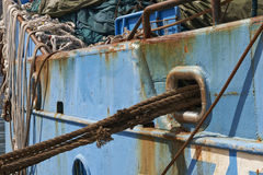 Ropes and rust detail of ship Stock Photos