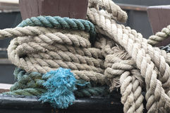 Ropes on a sail boat Stock Photos