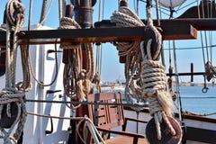 Ropes on sail boat Royalty Free Stock Photo