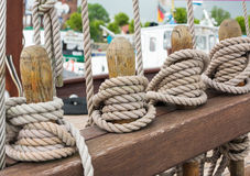 Ropes on a sailboat Royalty Free Stock Photos