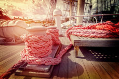 Ropes on a sailboat Stock Images