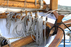 Ropes on sailing ship Royalty Free Stock Image