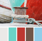 Ropes on a sailing ship.  color palette swatches Stock Image
