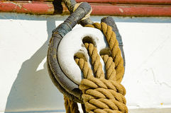 Ropes on sailing ship Stock Images