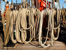 Ropes of sailing ship Siedow Royalty Free Stock Images