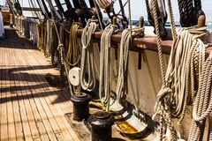 Ropes on ship Royalty Free Stock Photos