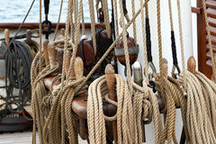 Ropes on a ship Stock Images