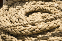 Ropes on a ship deck Royalty Free Stock Photo