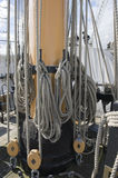 Ropes on ships mast Royalty Free Stock Photos