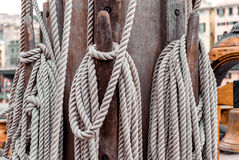 Ropes on the shroud on a sailing ship Royalty Free Stock Images