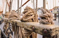 Ropes on the side of old sailing ship Stock Photo