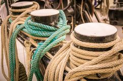 Ropes on the side of old sailing ship Royalty Free Stock Image