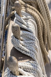 Ropes tied on a ship deck.vertical Royalty Free Stock Photography