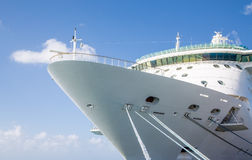 Ropes Up to Bow of Cruise Ship Stock Photos