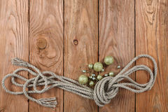 Ropes on a wooden background Royalty Free Stock Photo