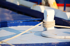 Ropes on wooden sailboat upper deck Stock Photo