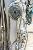 Ropes wound around winches on sailboat Royalty Free Stock Photo