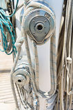 Ropes wound around winches on sailboat Royalty Free Stock Photos