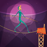 Ropewalker Cartoon Illustration Royalty Free Stock Photos